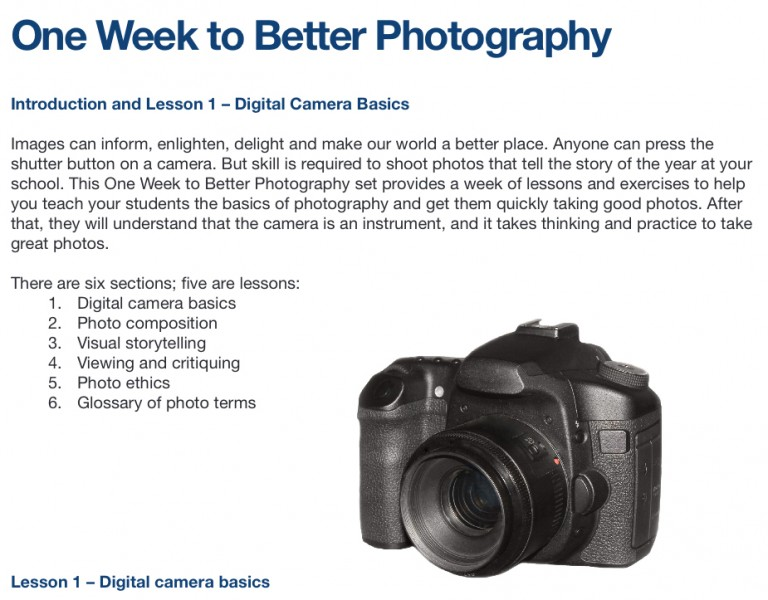 Use the One Week to Better Photography lesson plan » School ...