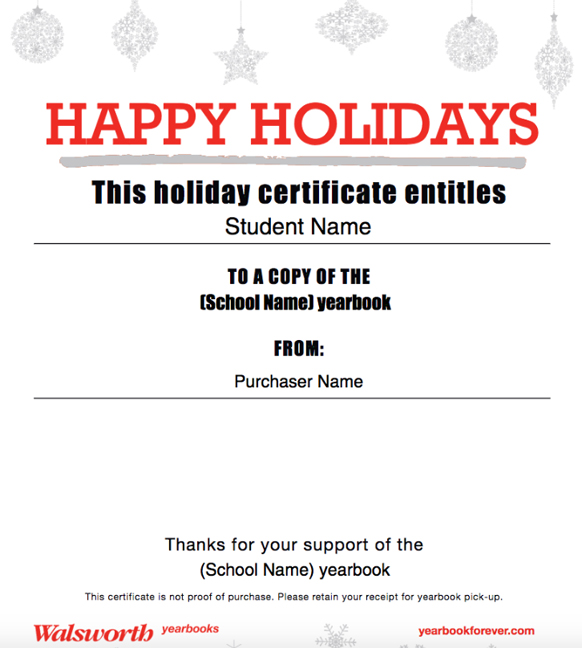 holiday certificate