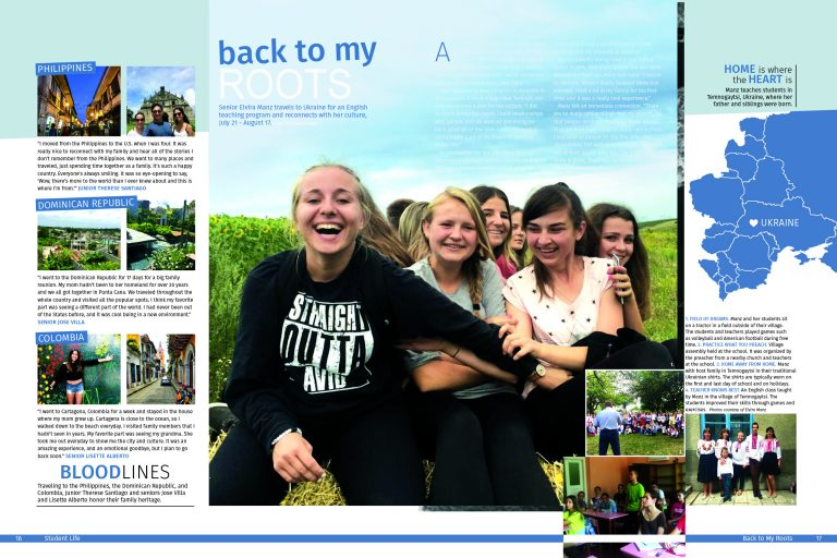 2017 Del Campo summer coverage yearbook spread